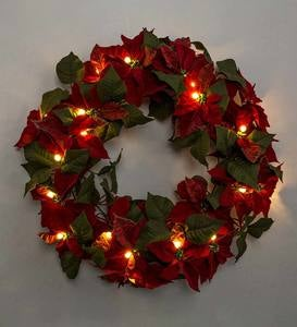 Lighted Poinsettia Holiday Accents