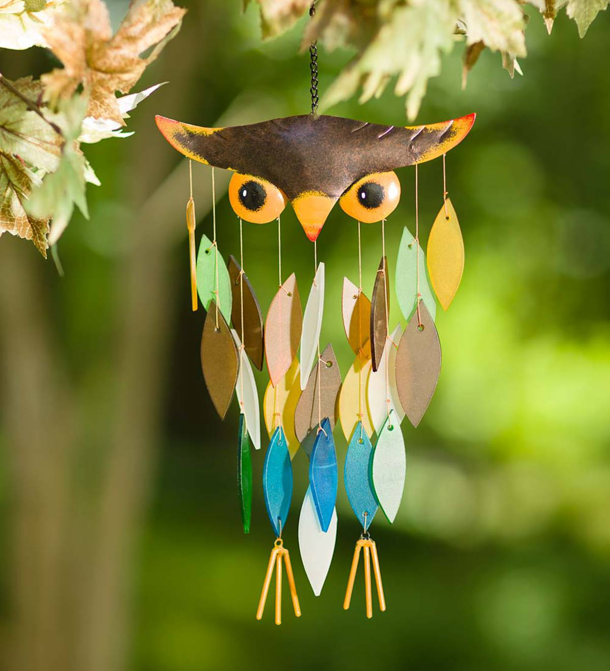 Owl Glass Waterfall Wind Chime