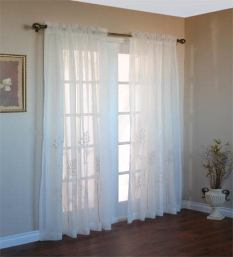 "95""L Embroidered Hydrangea Sheer Curtain Panel"