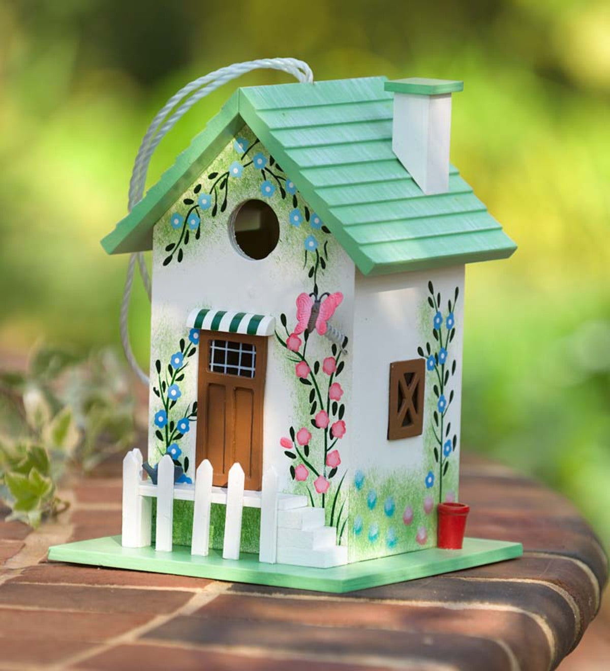 Colorful Cottage Birdhouse - Green Butterfly