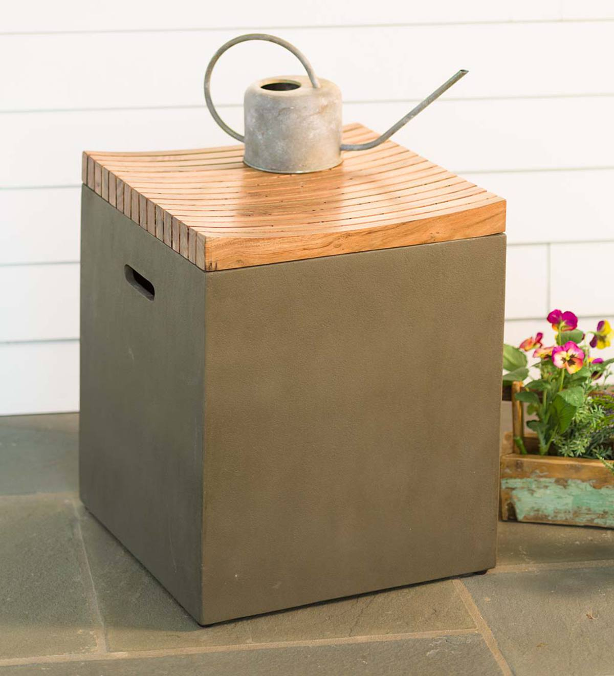 Beau Concrete Storage Cube With Wood Lid