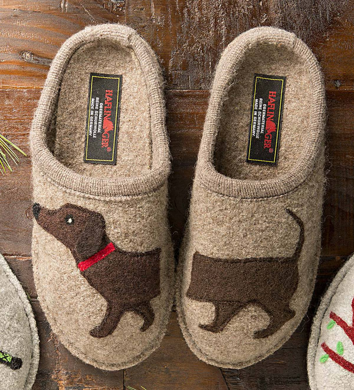 e0339980d755 Women s Boiled Wool Dog Slippers with Non-Slip Soles