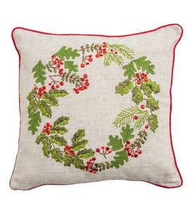 Lighted Embroidered Holiday Throw Pillows