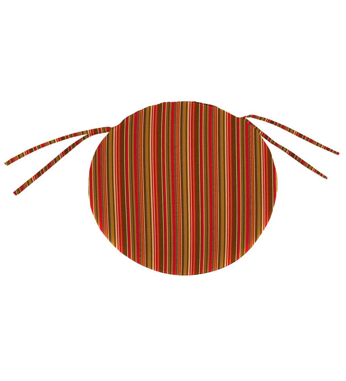 Sunbrella Classic Round Chair Cushion With Ties, 16u2033 X 2u2033   Cherry Stripe