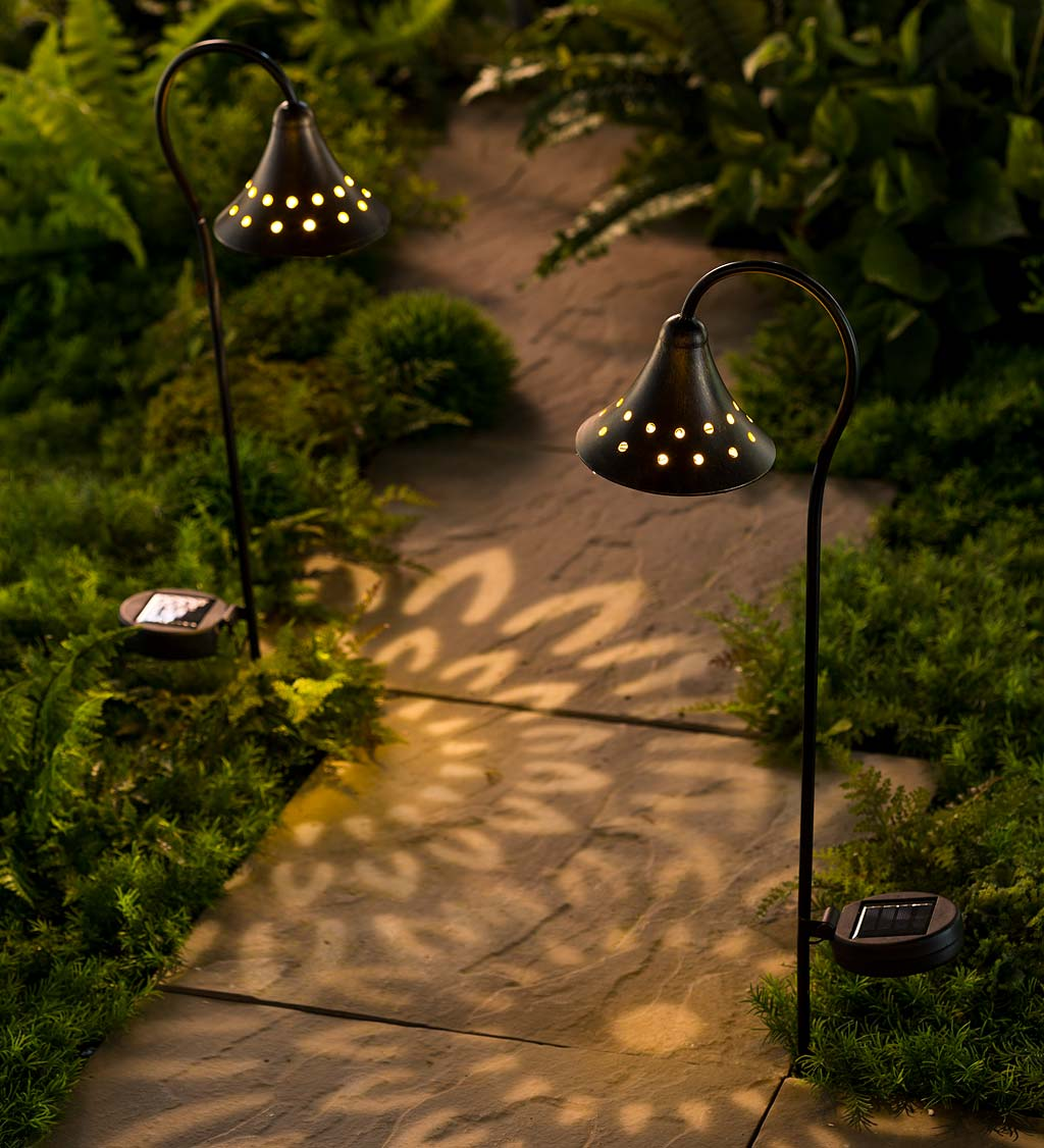 Solar Pathway Lanterns with Light Pattern, Set of 2