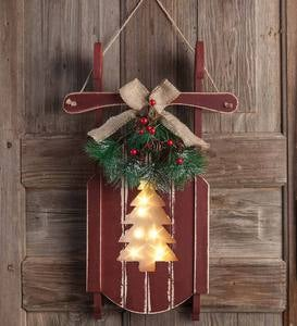 Hanging Wooden Sled with Lighted Holiday Cutout Design