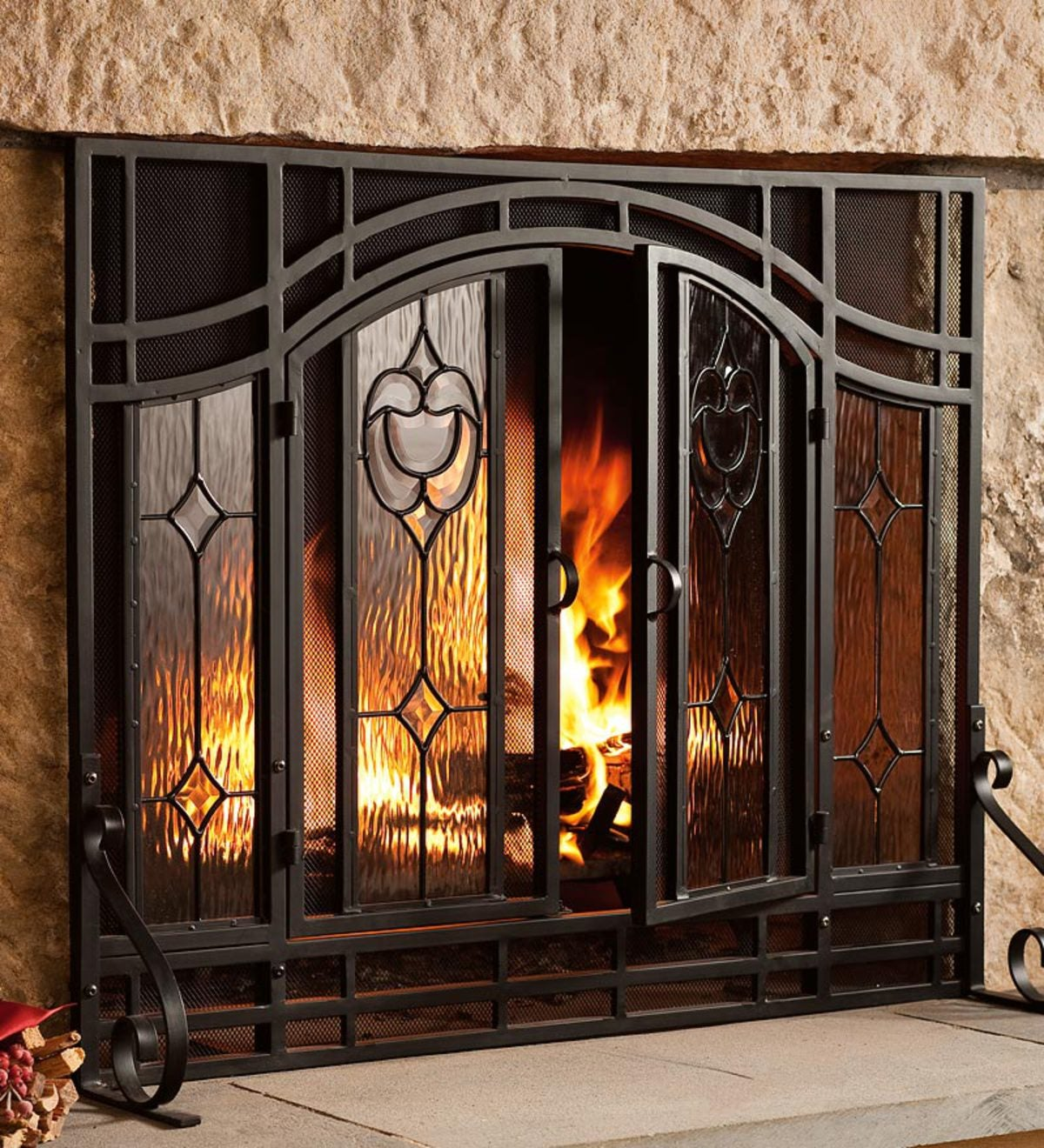 Fantastic Small Two Door Fireplace Screen With Glass Floral Panels Interior Design Ideas Clesiryabchikinfo