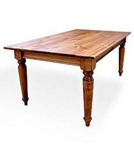 Solid Pine Farmhouse Table with Plank Top, 5'L