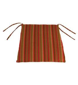 "Sunbrella Classic Chair Cushion With Ties, 19½""x 19""x 3"" - Cherry Stripe"