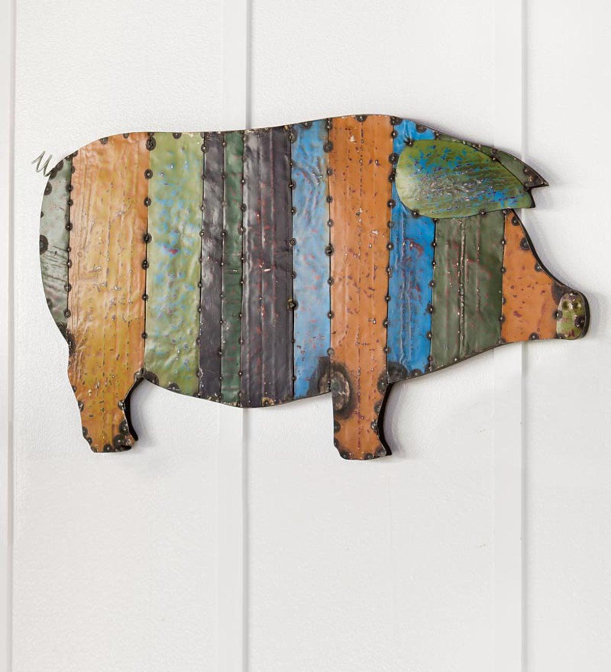 Recycled Metal Handmade Pig Wall Art