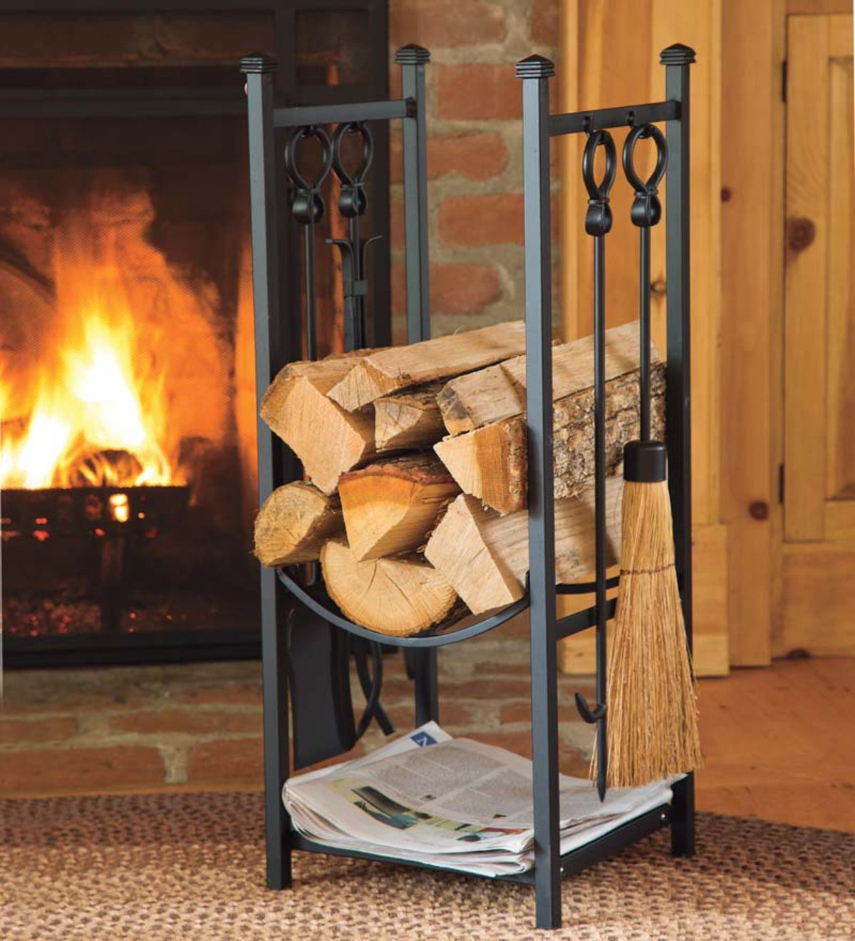 Wood Rack With Fireplace Tools Fireplace Tools