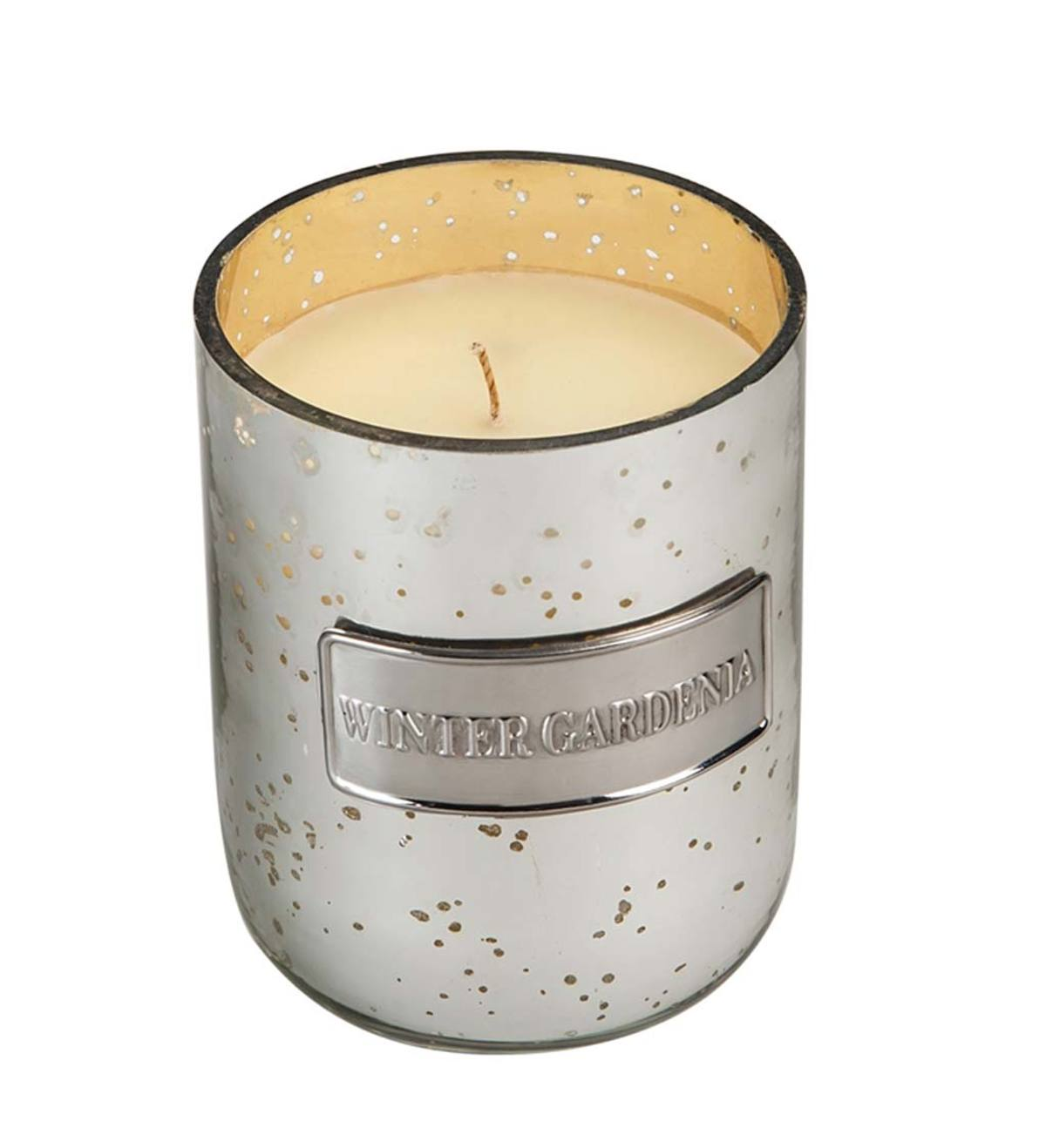 Winter Gardenia Embossed Glass Candle