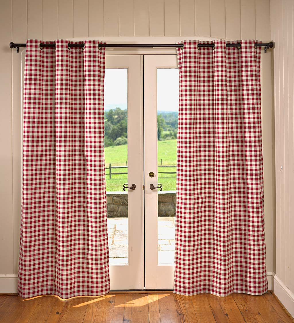 "Thermalogic™ Check Grommet-Top Curtain Pair, 54""L swatch image"
