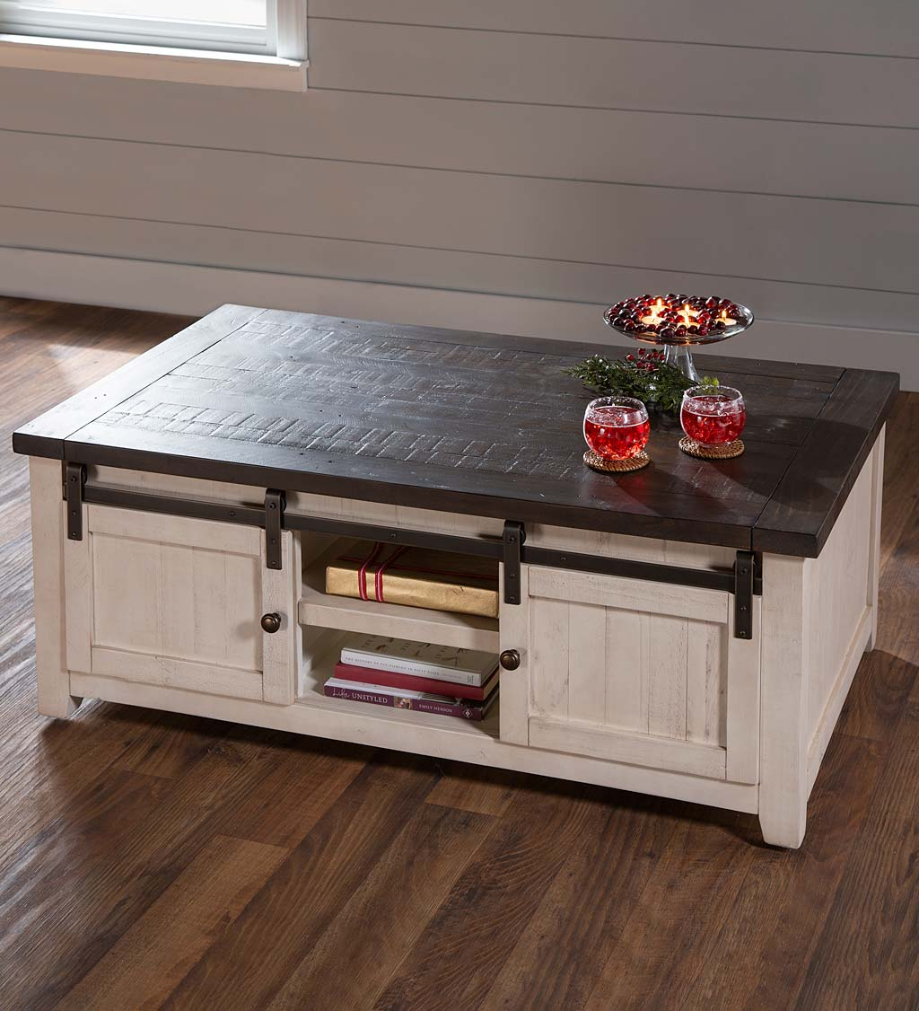 Cape Charles Reclaimed Wood Coffee Cocktail Table With Sliding Barn Doors White Plowhearth