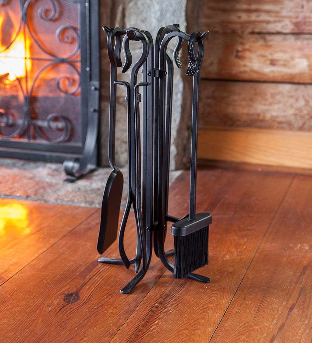 Compact Size Hand-Forged Fireplace Tool Set