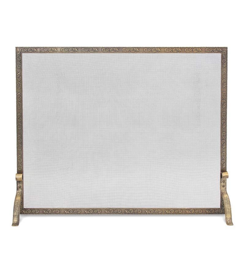 Bay Branch Embossed Single Panel Fireplace Screen