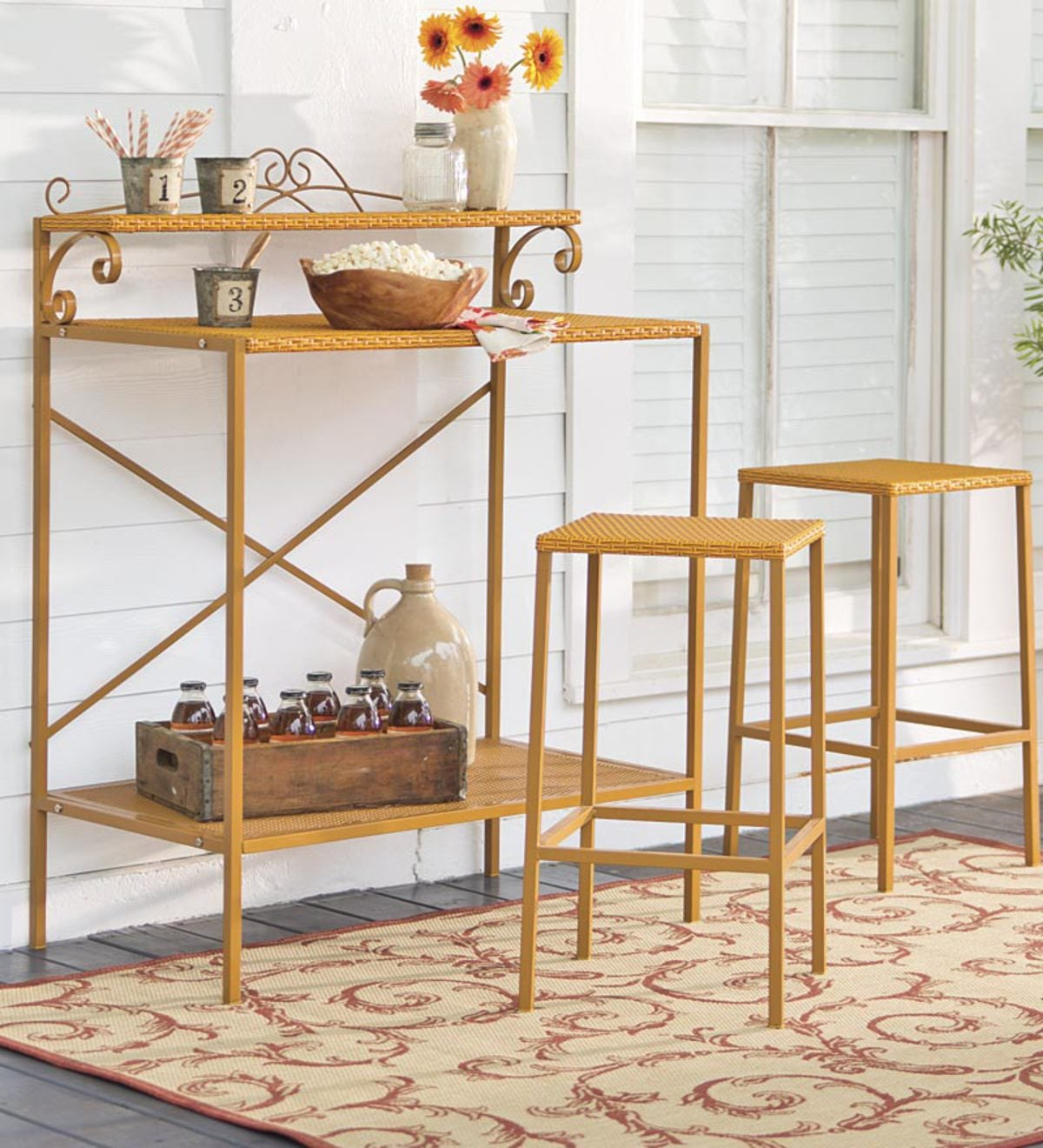 Outdoor Wicker Sideboard And Stool Set Tan