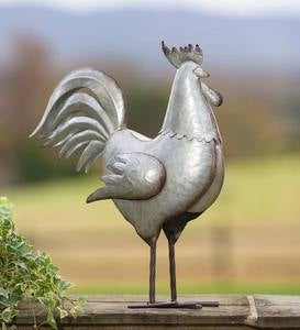 Galvanized Metal Rooster Accent