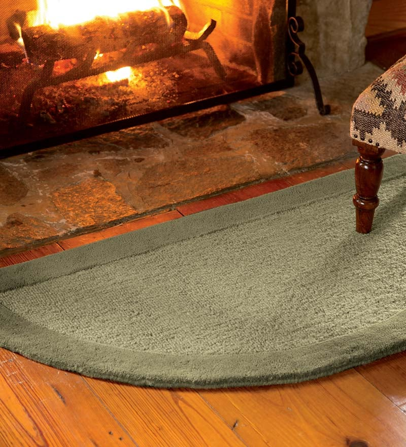 Madrid Banded Half-Round Hearth Rug, 2' x 4'