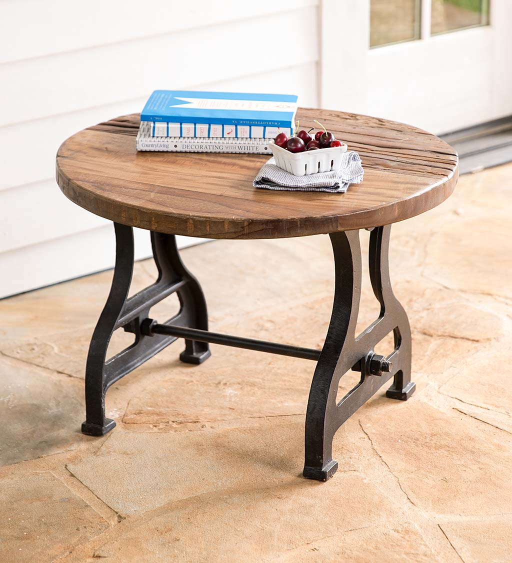Birmingham Round End Table in Reclaimed Wood and Metal