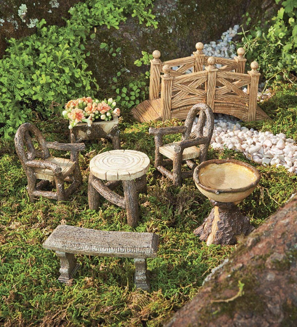 Delicieux Woodland Fairy Garden Resin Furniture Set