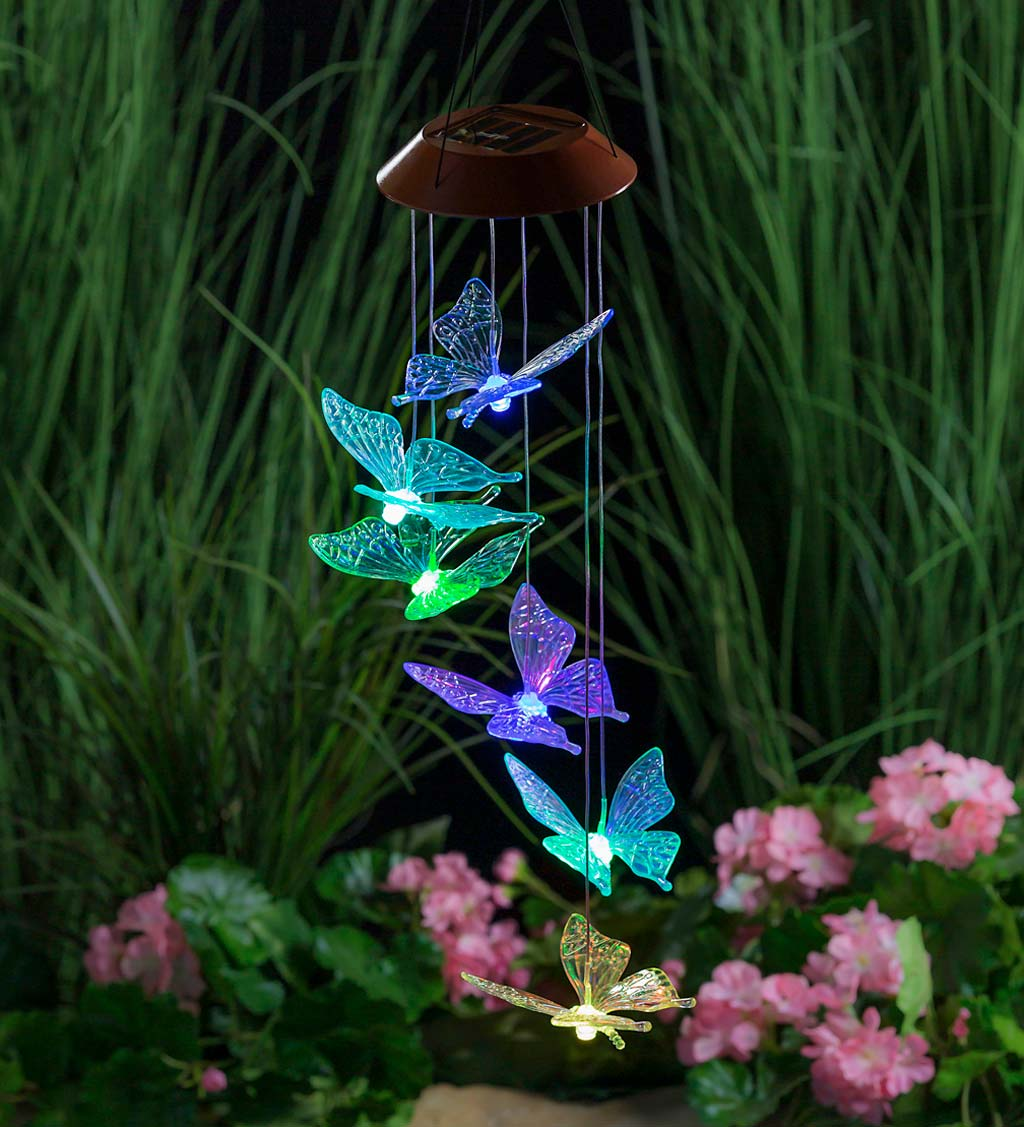 Color Changing Solar Mobile with Iridescent Butterflies