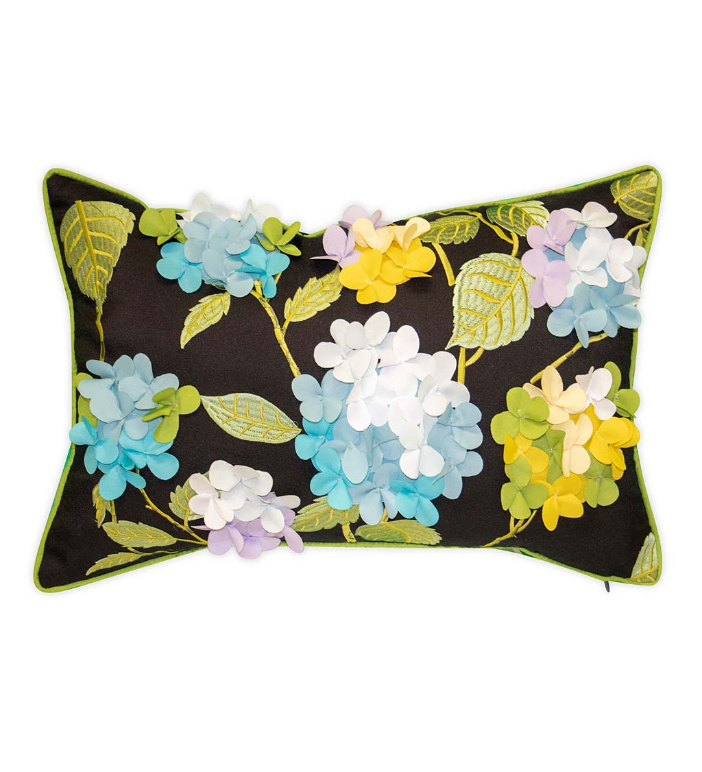 Indoor/Outdoor Embroidered 3D Hydrangea Lumbar Pillow - Blue