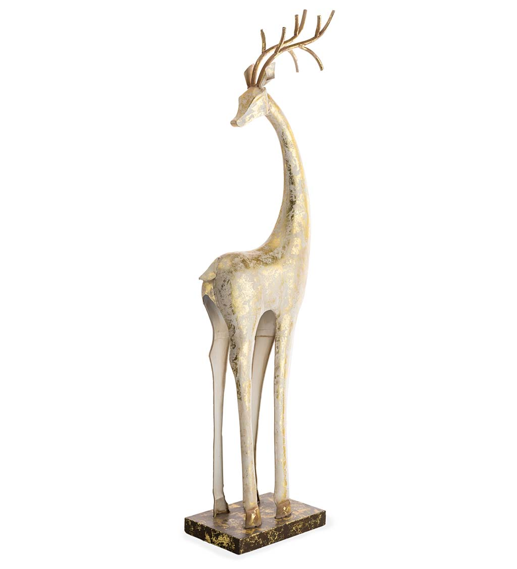 Gold and White Painted Iron Deer Statue With Neck Turned