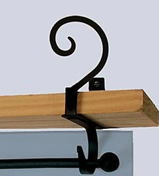 USA-Made Wrought Iron Curtain Shelf Brackets