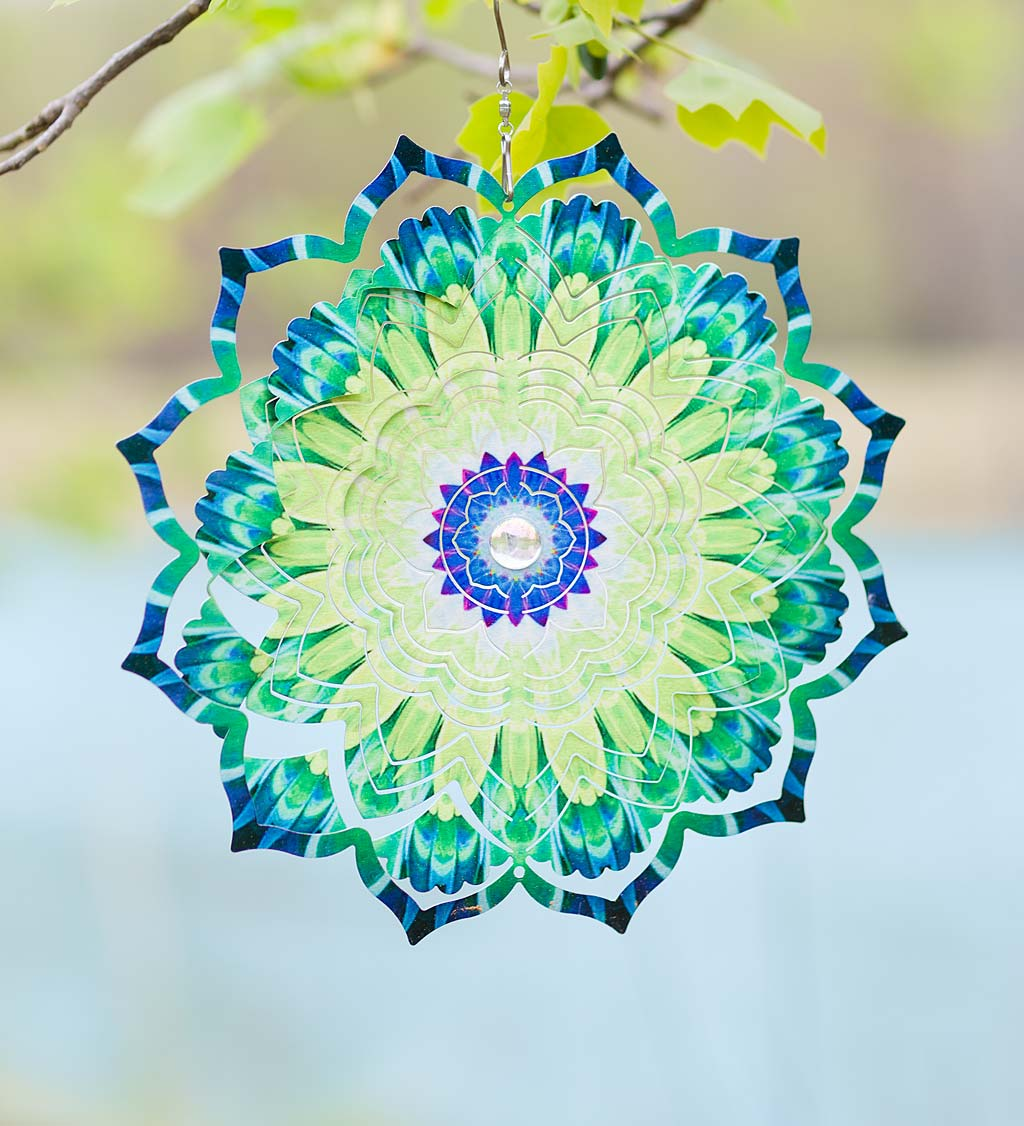 Mandala Lotus Optical Illusion Hanging Metal Spinner