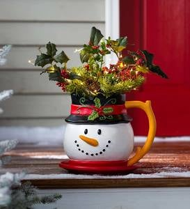 Indoor/Outdoor Holiday Snowman Mug Planter with Saucer