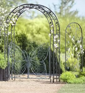 Metal Garden Arbor with Butterfly Gate