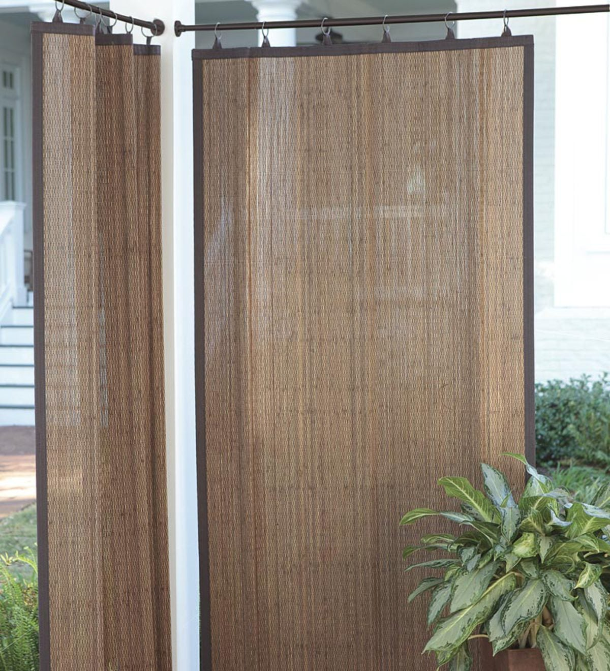 Outdoor Bamboo Curtain Panel 40 W X 63 L Plowhearth