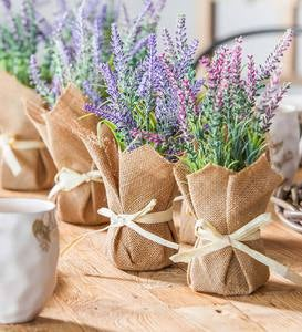 Faux Lavender Bunches in in Burlap Pots, Set of 2