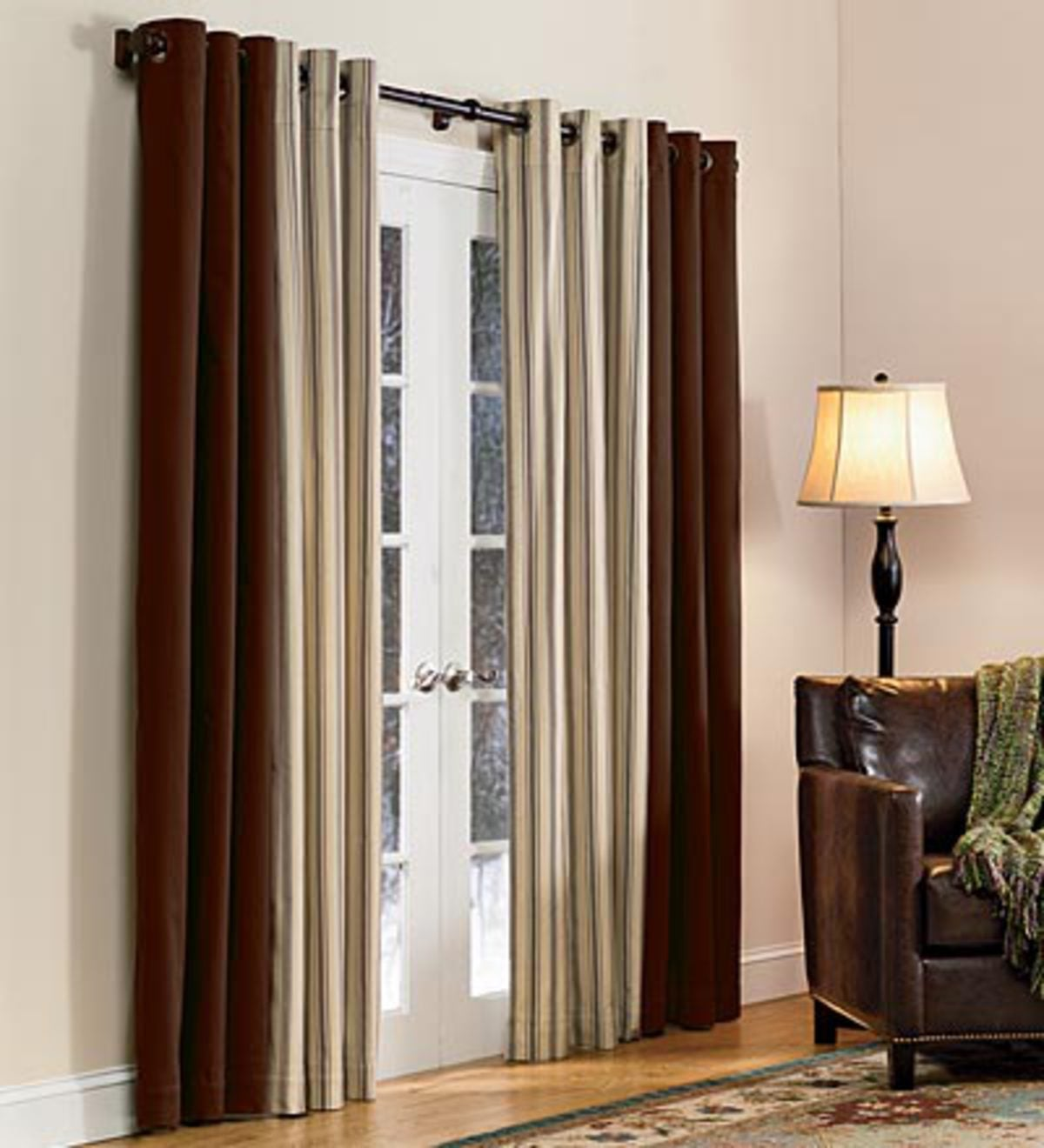 "72""L Thermalogic Energy Efficient Insulated Solid Grommet-Top Curtain Pair - Chocolate"