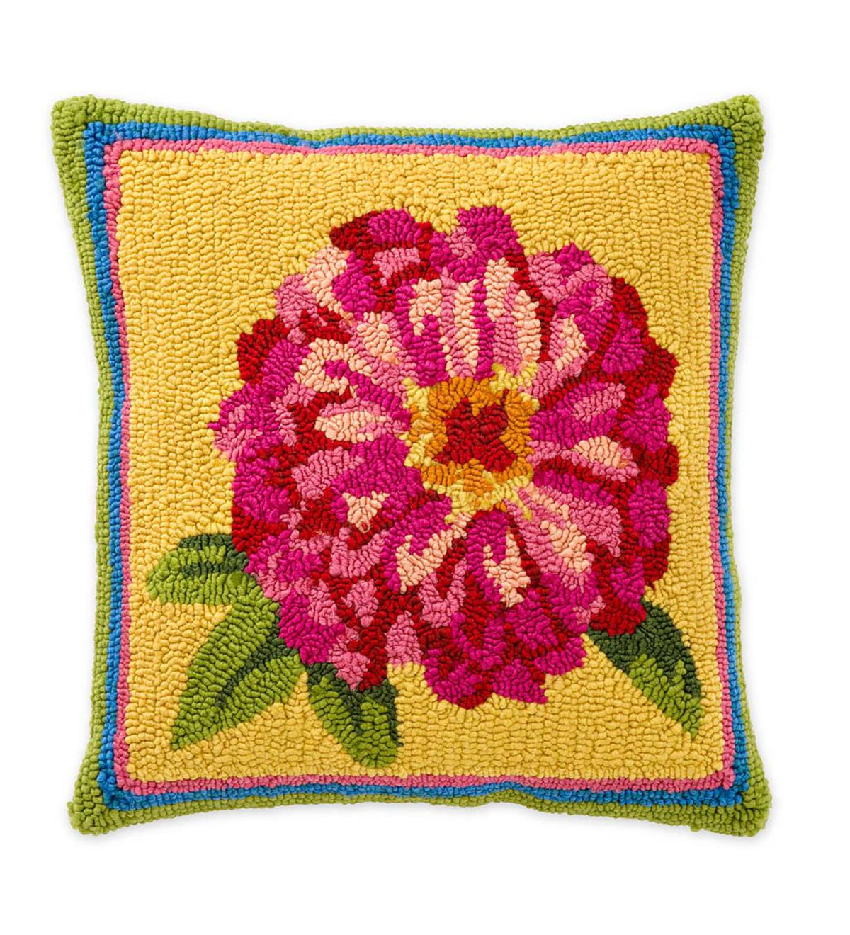 Indoor/Outdoor Hooked Zinnia Throw Pillow