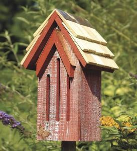 Mademoiselle Wood Butterfly House Shelter with Pole - Red