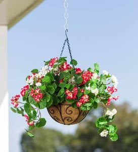 Everlasting Faux Red and White Geranium Hanging Basket