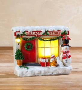 Lighted Window Shopper Holiday Store Fronts