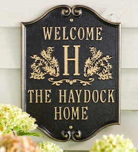 Cast Aluminum Monogram Welcome Plaque With Monogram - Black