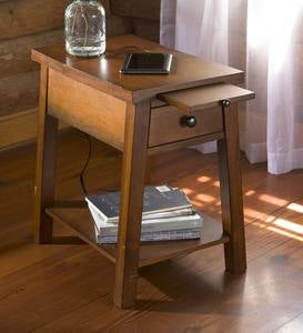 Wood Accent Table with Charging Station