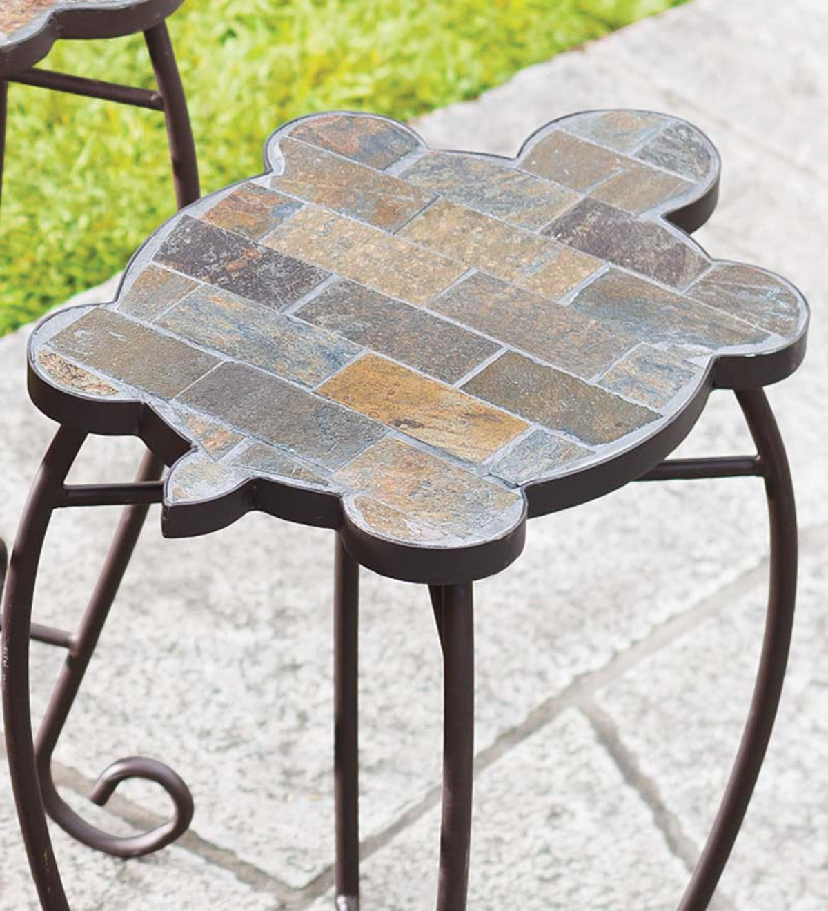 Slate Butterfly, Ladybug And Turtle Outdoor Accent Tables With Iron Base