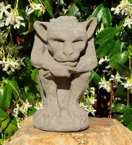 USA-Made Cast Stone Thinking Gargoyle Candle Holder