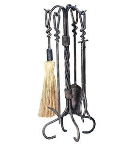 Wrought Iron 5-Piece Fireplace Tool Set with Twist Handles In Antique Rust Finish