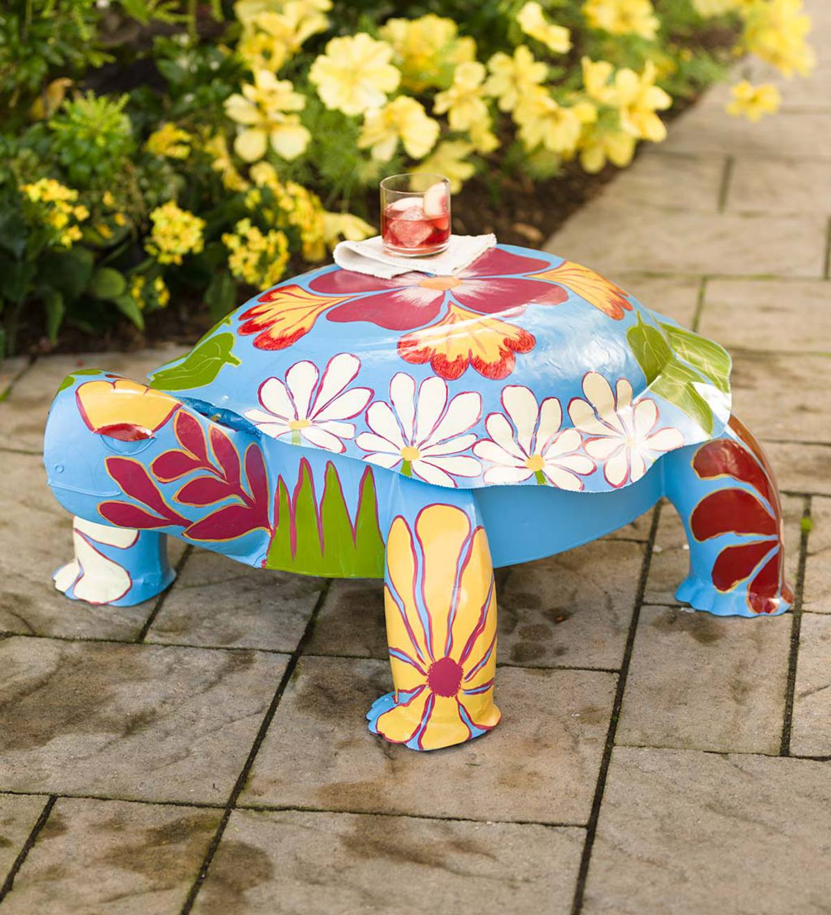 Folk Art Turtle Table in Colorful Painted Metal