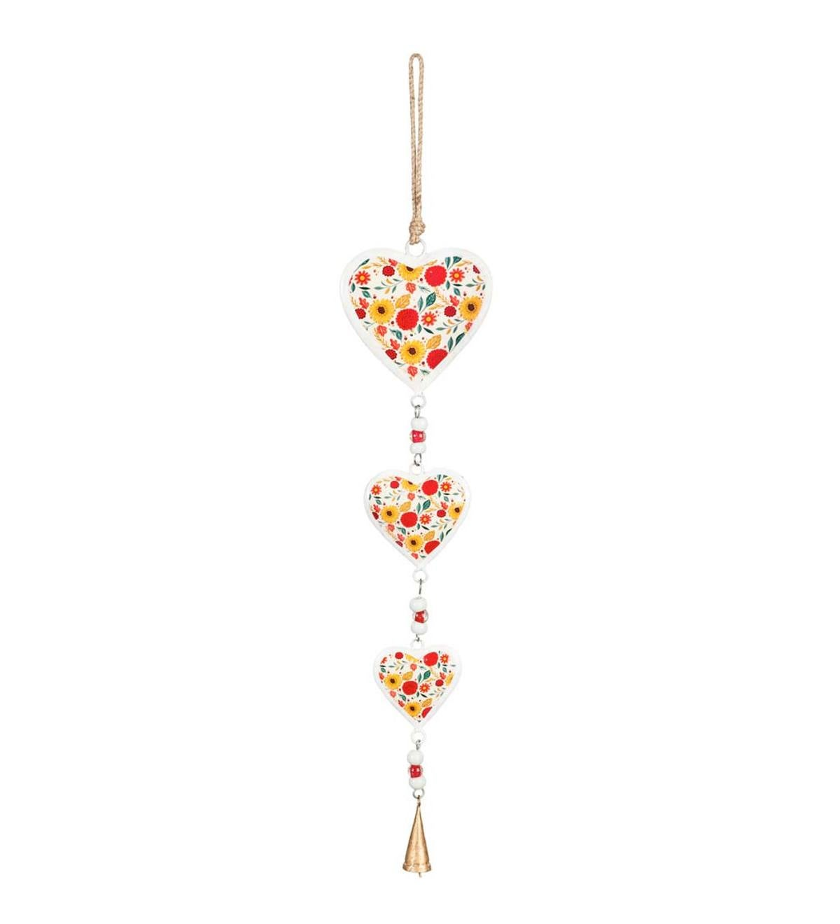 Blooming Floral Hanging Heart Decor with Bell