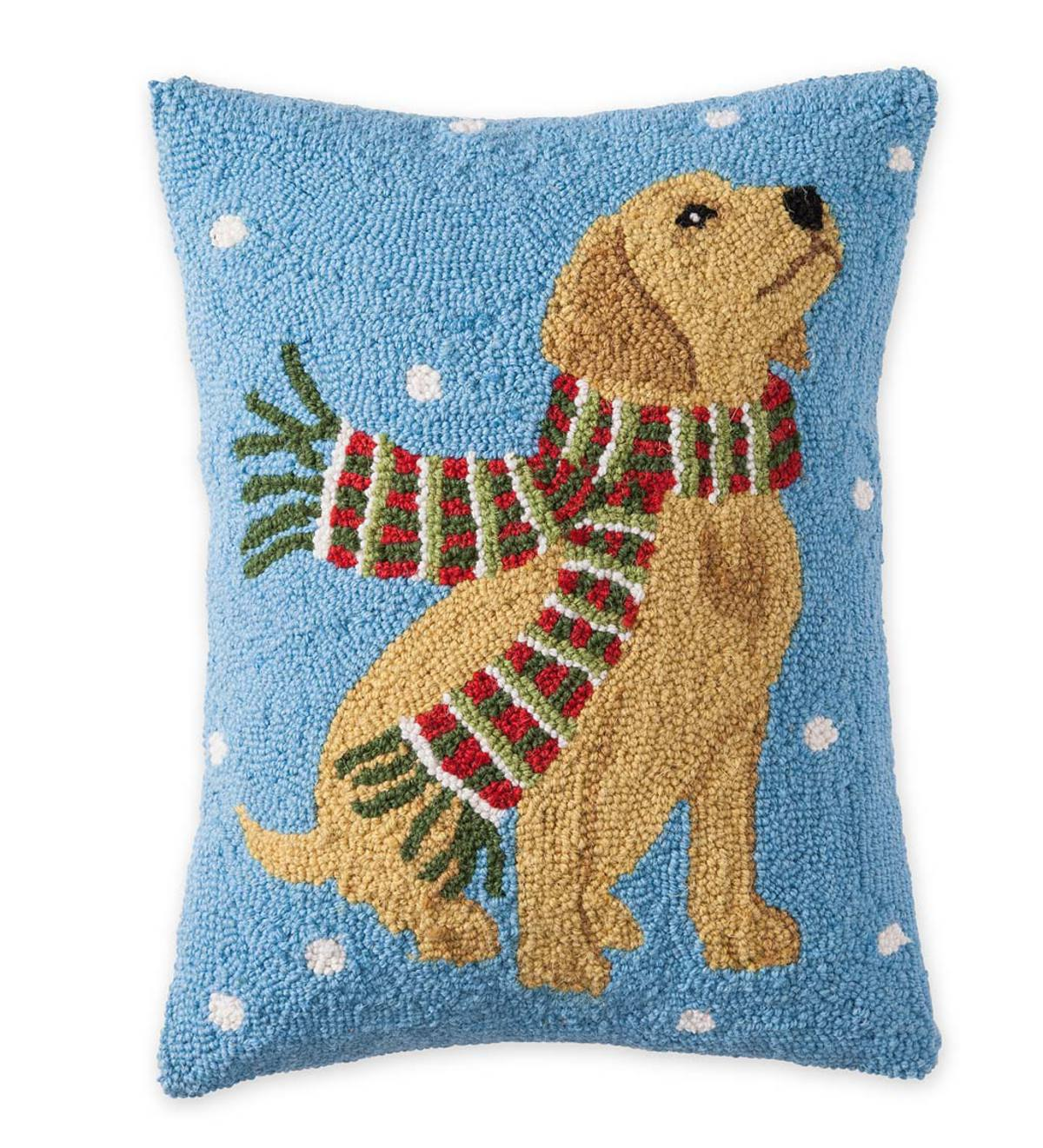 Hooked Wool Holiday Throw Pillow with Yellow Lab and Snowflakes