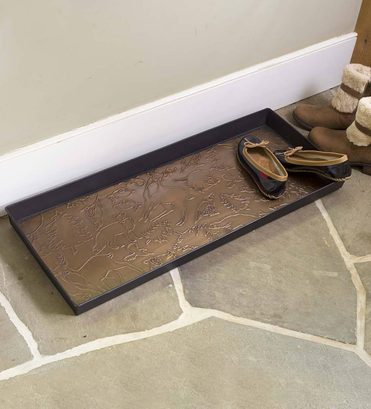 Picture of: Woodland Boot Tray In Embossed Metal Plowhearth