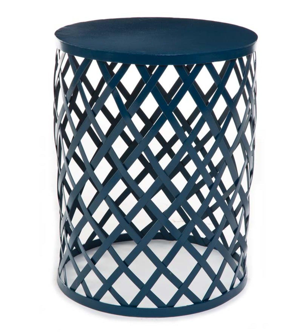 Metal Lattice Side Table Blue Plowhearth