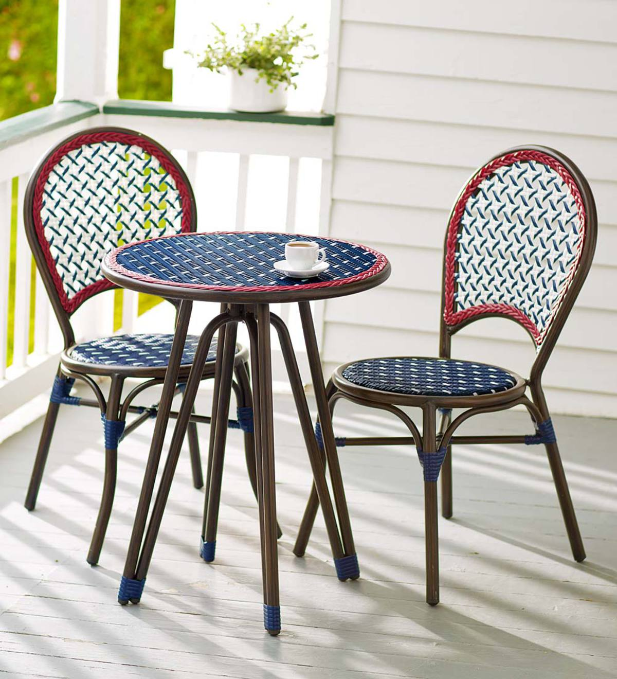 Americana Wicker Bistro Table And Chairs Set Plowhearth